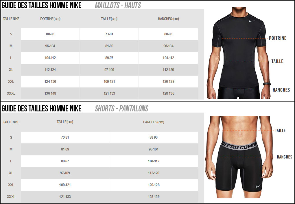 Grille taille vêtement tennis homme nike